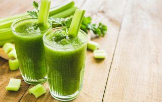 two glasses of fresh celery juice